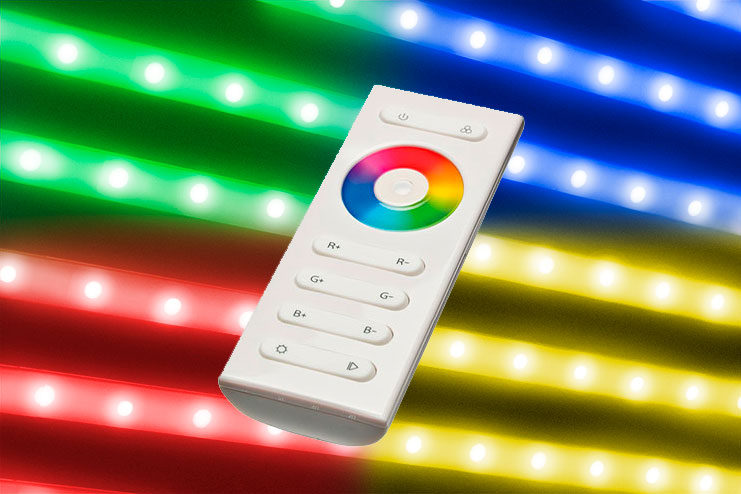 Colored RGB LED lights with remote control to choose various colours, sets lighting effects and the dimmer. White colour is a cold white (6000-6500°K). Not suggested option for cheese, delicatessen and gastronomy units.