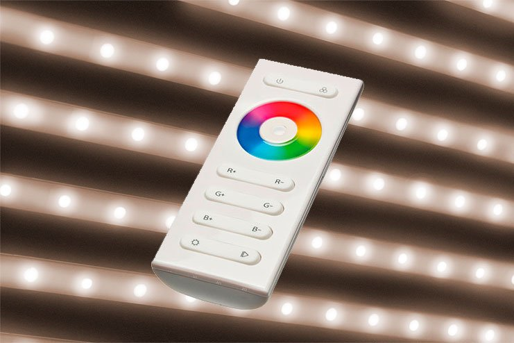 Warm white LED (2700-3200°K) + controller with remote control to ajust the intensity
