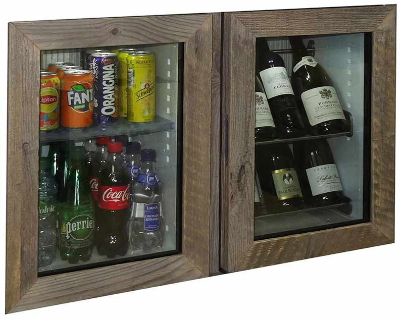 Minibar on the left hand side and Mini-winebar on tne right hand side