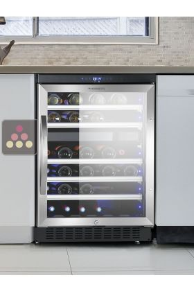 Dual temperature built in wine cabinet for storage and/or service