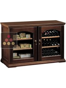 Combination of single-temperature wine storage or service cabinet & cigar humidor CALICE