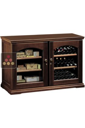 Combination Of Single Temperature Wine Storage Or Service Cabinet Cigar Humidor