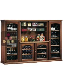 Combination of 4 single temperature wine cabinets for storage or service + spice rack CALICE