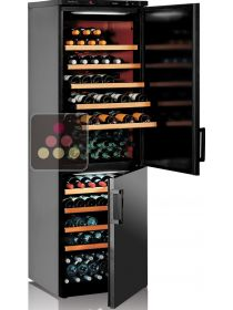 Combination of 2 single-temperature wine cabinets for ageing or service CALICE