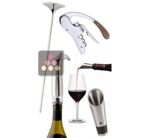 Wine tasting essentials: Corkscrew + Thermometer + Pouring spout + Stopper L'ATELIER du VIN