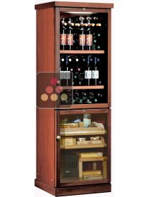 Combined wine service cabinet and cigar humidor