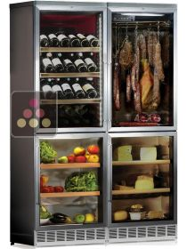 Built-in combination of 4 single temperatur cabinets for wine, cheese, delicatessen, fruits and vegetables CALICE
