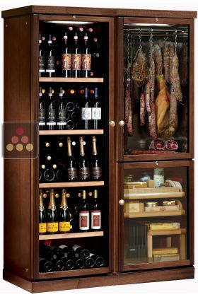 Gourmet combination : wine cabinet, cold meat cabinet & cigar humidor