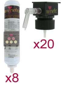 Set of 20 dispensing heads and eight Argon cartridges for by the glass distributor WINEFIT