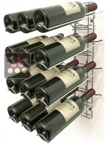 Chromed steel wall rack for 12 x 75cl bottles - Sloping bottles VISIORACK