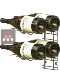 Chromed steel wall rack for 6 x 75cl Magnum bottles - Horizontal bottles VISIORACK