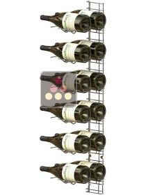 Chromed steel wall rack for 18 x 75cl Magnum bottles - Horizontal bottles VISIORACK