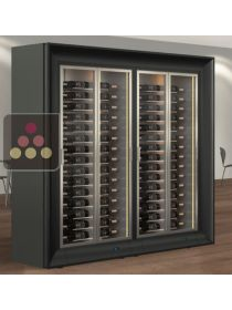 Combination of two modular multipurpose wine cabinets in an island unit CALICE