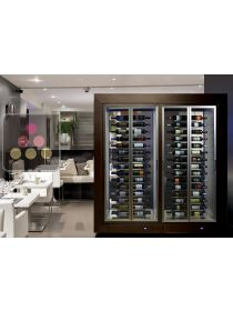 Combination of 2 modular multipurpose wine cabinets in an island unit CALICE