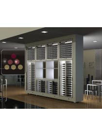 Combination of 8 modular multi-purpose wine cabinets with storage in an island unit CALICE