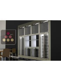 Combination of 8 built in modular multi purpose wine cabinets with storage units CALICE