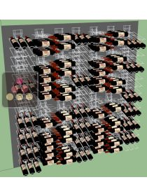 Wall of 7 wall holders for 336 x 75cl bottles tilted & horizontal  VISIORACK