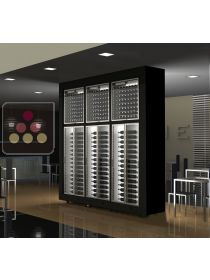 Combination of 6 modular multi purpose wine cabinets in an island unit CALICE