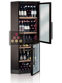 Built-in Combination of 2 single temperature wine service and storage cabinet CALICE