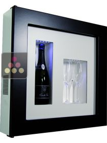 Single temperature silent refrigerated Champagne stand  for 1 bottle and 2 glasses CALICE DESIGN