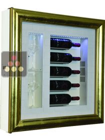 Single temperature silent refrigerated Champagne stand  for 5 bottles and 2 glasses CALICE DESIGN