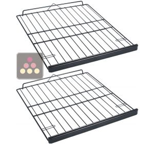 Set of 2 Steel wire storage shelves with wooden front  CLIMADIFF