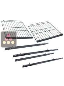 Set of 2 Steel wire sliding shelves with wooden front  CLIMADIFF