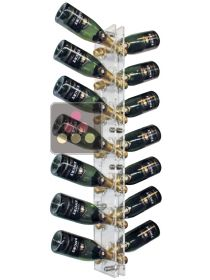 Wall Mounted Bottle Rack in Plexiglass for 14 champagne bottles - (optional LED lighting) SOBRIO
