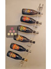 Wall Mounted Bottle Rack in Plexiglass for 6 champagne bottles SOBRIO