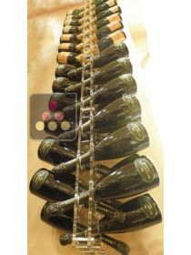 Wall Mounted Bottle Rack in Plexiglass for 54 champagne bottles - lighting LED in option SOBRIO
