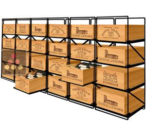 Sliding racks for 24 wooden cases of wine or 288 bottles MODULORACK