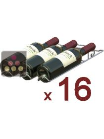 Set of 16 chrome wine cradles for 3 75cl bottles - Rollover position  VISIORACK
