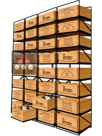 Sliding racks for 32 wooden cases of wine or 384 bottles MODULORACK