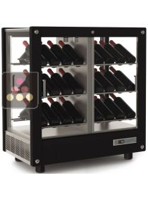 4-sided refrigerated display cabinet for storage or service of wine