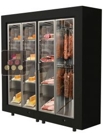 Freestanding combination of 2 modular cabinets for cheese and delicatessen storage CALICE