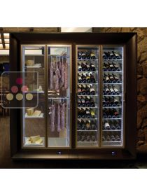 Combination of a multipurpose wine cabinet and a cheese/delicatessen cabinet in an island unit CALICE