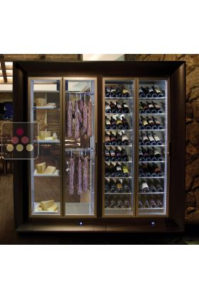 Combination of a multipurpose wine cabinet and a cheese/delicatessen cabinet in an island unit