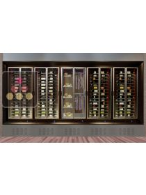 Built-in combination of 4 multi purpose wine cabinets and 1 delicatessen/cheese cabinet, remote compressor CALICE