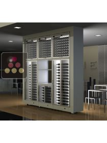 Combination of 6 modular multi-purpose wine cabinets with storage in an island unit CALICE