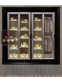 Combination of two modular built in cheese and delicatessen cabinets on iron stand CALICE