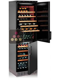 Built-in combination of 2 single-temperature wine cabinets for ageing or service CALICE