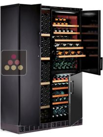 Built-in combination of 3 single-temperature wine cabinets for ageing or service CALICE