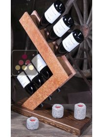 Stone and wood table bottle display unit IT'S STONE