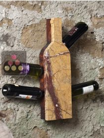 Stone and wood wall rack for 6 bottles IT'S STONE