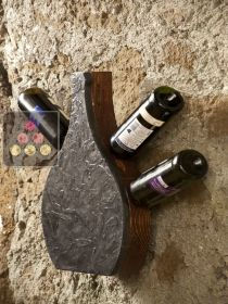 Stone and wood wall rack for 4 bottles IT'S STONE