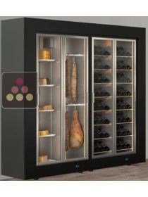 Freestanding combination of a multipurpose wine cabinet and a cheese/delicatessen cabinet CALICE