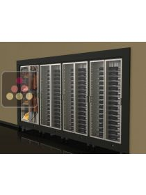 Built-in combination of 3 multipurpose wine cabinets and a cheese/delicatessen cabinet CALICE