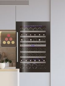 Dual temperature built in wine cabinet for storage and/or service LE CHAI