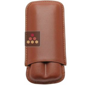 Brown leather cigar case for 2 cigars Ma Cave à Cigares