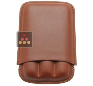 Brown leather cigar case for 3 cigars Ma Cave à Cigares